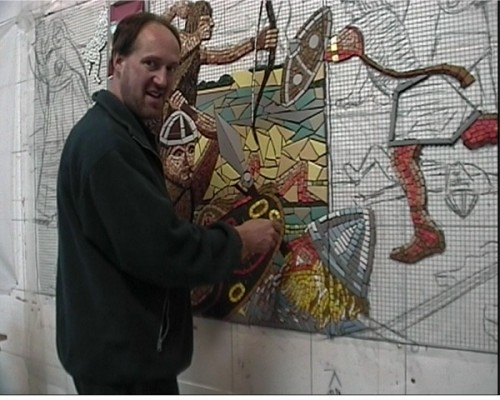 Village Mosaic - Oliver works on the second panel