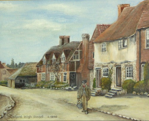 Otford Remembered 1901 - 1914 - the High Street c1890 painted by Jeanne Prestage