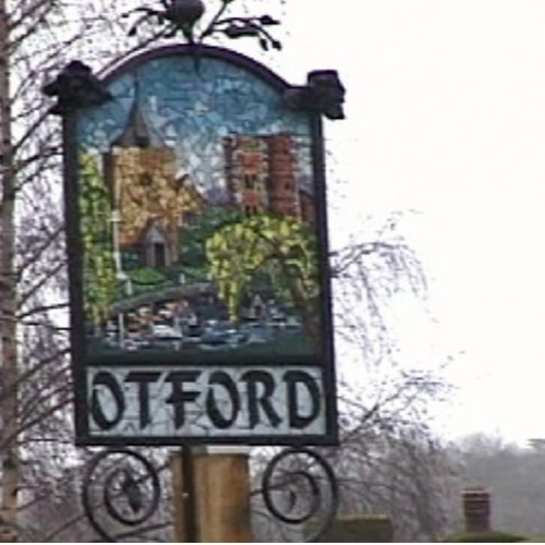 Otford Village Sign - the sign stands resplendent on the village green