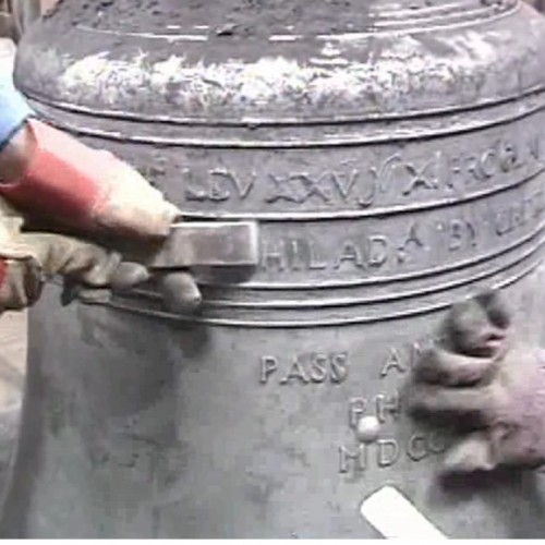 Making of a Liberty Bell Replica - revealing the lettering on the outside